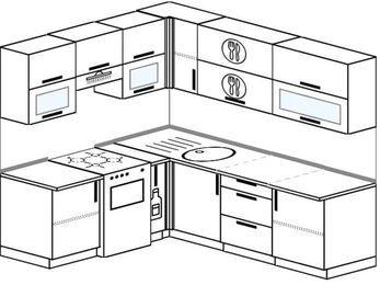 Угловая кухня 6,2 м² (1,8✕2,2 м), верхние модули 72 см, отдельно стоящая плита