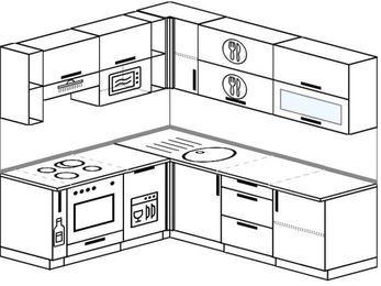 Угловая кухня 6,2 м² (1,8✕2,2 м), верхние модули 72 см, посудомоечная машина, верхний модуль под свч, встроенный духовой шкаф