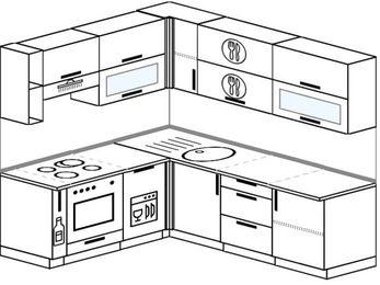 Планировка угловой кухни 6,2 м², 1800 на 2200 мм: верхние модули 720 мм, корзина-бутылочница, встроенный духовой шкаф, посудомоечная машина