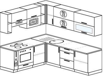 Планировка угловой кухни 6,2 м², 1800 на 2200 мм: верхние модули 720 мм, корзина-бутылочница, встроенный духовой шкаф, верхний модуль под свч