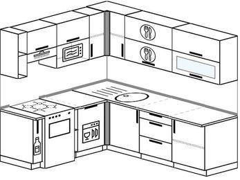 Угловая кухня 6,2 м² (1,8✕2,2 м), верхние модули 72 см, посудомоечная машина, верхний модуль под свч, отдельно стоящая плита