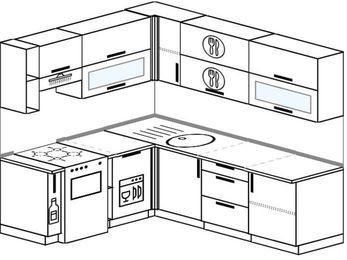 Планировка угловой кухни 6,2 м², 180 на 220 см: верхние модули 72 см, корзина-бутылочница, отдельно стоящая плита, посудомоечная машина