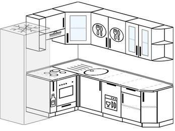 Планировка угловой кухни 6,2 м², 1800 на 2200 мм: верхние модули 720 мм, холодильник, корзина-бутылочница, встроенный духовой шкаф, посудомоечная машина