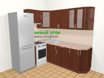 Угловая кухня МДФ матовый в классическом стиле 6,2 м², 180 на 220 см, Вишня темная, верхние модули 72 см, холодильник, отдельно стоящая плита
