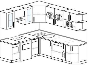 Планировка угловой кухни 6,2 м², 1800 на 2200 мм: верхние модули 720 мм, отдельно стоящая плита, корзина-бутылочница, модуль под свч