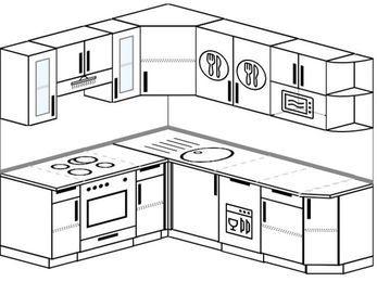 Угловая кухня 6,2 м² (1,8✕2,2 м), верхние модули 72 см, посудомоечная машина, модуль под свч, встроенный духовой шкаф