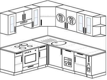 Угловая кухня 6,2 м² (1,8✕2,2 м), верхние модули 72 см, посудомоечная машина, встроенный духовой шкаф