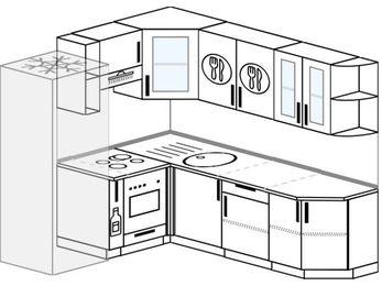Угловая кухня 6,2 м² (1,8✕2,2 м), верхние модули 72 см, встроенный духовой шкаф, холодильник