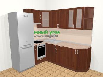 Угловая кухня МДФ матовый в классическом стиле 6,2 м², 180 на 220 см, Вишня темная, верхние модули 72 см, встроенный духовой шкаф, холодильник