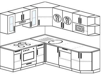 Угловая кухня 6,2 м² (1,8✕2,2 м), верхние модули 72 см, модуль под свч, встроенный духовой шкаф