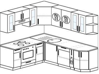 Угловая кухня 6,2 м² (1,8✕2,2 м), верхние модули 72 см, встроенный духовой шкаф