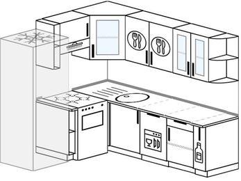 Угловая кухня 6,2 м² (1,8✕2,2 м), верхние модули 72 см, посудомоечная машина, холодильник, отдельно стоящая плита