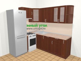 Угловая кухня МДФ матовый в классическом стиле 6,2 м², 180 на 220 см, Вишня темная, верхние модули 72 см, посудомоечная машина, холодильник, отдельно стоящая плита