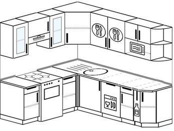 Угловая кухня 6,2 м² (1,8✕2,2 м), верхние модули 72 см, посудомоечная машина, модуль под свч, отдельно стоящая плита