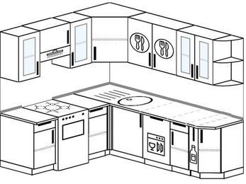Планировка угловой кухни 6,2 м², 180 на 220 см: верхние модули 72 см, отдельно стоящая плита, посудомоечная машина, корзина-бутылочница