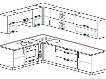 Планировка угловой кухни 7,0 м², 1800 на 2600 мм: верхние модули 720 мм, встроенный духовой шкаф, корзина-бутылочница