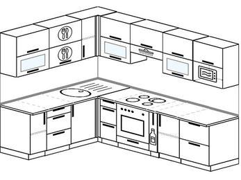 Планировка угловой кухни 7,0 м², 1800 на 2600 мм (зеркальный проект): верхние модули 720 мм, встроенный духовой шкаф, корзина-бутылочница, модуль под свч