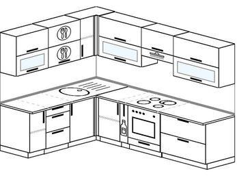 Планировка угловой кухни 7,0 м², 1800 на 2600 мм (зеркальный проект): верхние модули 720 мм, корзина-бутылочница, встроенный духовой шкаф