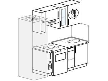 Планировка прямой кухни 5,0 м², 190 см: верхние модули 72 см, холодильник, корзина-бутылочница, отдельно стоящая плита