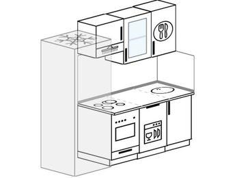 Планировка прямой кухни 5,0 м², 190 см: верхние модули 72 см, холодильник, встроенный духовой шкаф, посудомоечная машина