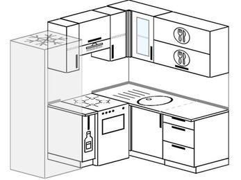 Планировка угловой кухни 5,0 м², 190 на 160 см: верхние модули 72 см, холодильник, корзина-бутылочница, отдельно стоящая плита