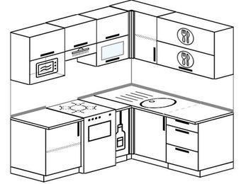 Планировка угловой кухни 5,0 м², 190 на 160 см: верхние модули 72 см, отдельно стоящая плита, корзина-бутылочница, верхний модуль под свч