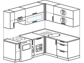 Планировка угловой кухни 5,0 м², 190 на 160 см: верхние модули 72 см, отдельно стоящая плита, корзина-бутылочница, посудомоечная машина