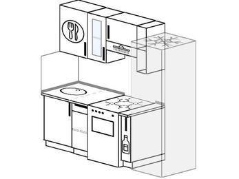 Планировка прямой кухни 5,0 м², 190 см (зеркальный проект): верхние модули 72 см, отдельно стоящая плита, корзина-бутылочница, холодильник
