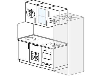 Планировка прямой кухни 5,0 м², 190 см (зеркальный проект): верхние модули 72 см, посудомоечная машина, встроенный духовой шкаф, холодильник