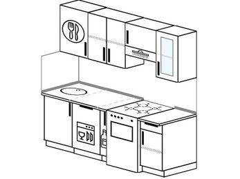 Планировка прямой кухни 5,0 м², 190 см (зеркальный проект): верхние модули 72 см, посудомоечная машина, корзина-бутылочница, отдельно стоящая плита