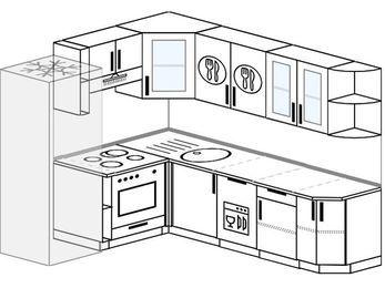 Угловая кухня 6,6 м² (1,9✕2,4 м), верхние модули 72 см, посудомоечная машина, встроенный духовой шкаф, холодильник