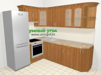Угловая кухня МДФ матовый в классическом стиле 6,6 м², 190 на 240 см, Вишня, верхние модули 72 см, посудомоечная машина, встроенный духовой шкаф, холодильник
