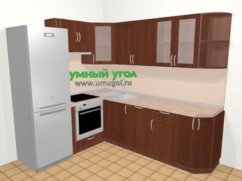 Угловая кухня МДФ матовый в классическом стиле 6,6 м², 190 на 240 см, Вишня темная, верхние модули 72 см, посудомоечная машина, встроенный духовой шкаф, холодильник
