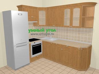 Угловая кухня МДФ матовый в стиле кантри 6,6 м², 190 на 240 см, Ольха, верхние модули 72 см, посудомоечная машина, встроенный духовой шкаф, холодильник