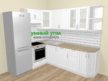 Угловая кухня МДФ матовый  в скандинавском стиле 6,6 м², 190 на 240 см, Белый, верхние модули 72 см, посудомоечная машина, встроенный духовой шкаф, холодильник