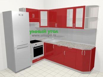 Угловая кухня МДФ глянец в современном стиле 6,6 м², 190 на 240 см, Красный, верхние модули 72 см, посудомоечная машина, встроенный духовой шкаф, холодильник