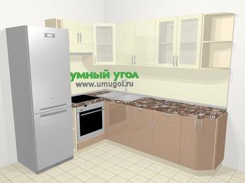 Угловая кухня МДФ глянец в современном стиле 6,6 м², 190 на 240 см, Жасмин / Капучино, верхние модули 72 см, посудомоечная машина, встроенный духовой шкаф, холодильник