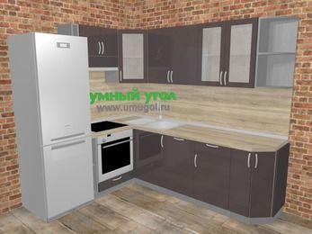 Угловая кухня МДФ глянец в стиле лофт 6,6 м², 190 на 240 см, Шоколад, верхние модули 72 см, посудомоечная машина, встроенный духовой шкаф, холодильник