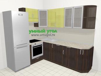 Кухни пластиковые угловые в современном стиле 6,6 м², 190 на 240 см, Желтый Галлион глянец / Дерево Мокка, верхние модули 72 см, посудомоечная машина, встроенный духовой шкаф, холодильник