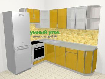Кухни пластиковые угловые в современном стиле 6,6 м², 190 на 240 см, Желтый глянец, верхние модули 72 см, посудомоечная машина, встроенный духовой шкаф, холодильник
