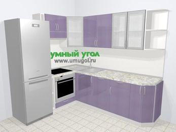 Кухни пластиковые угловые в современном стиле 6,6 м², 190 на 240 см, Сиреневый глянец, верхние модули 72 см, посудомоечная машина, встроенный духовой шкаф, холодильник