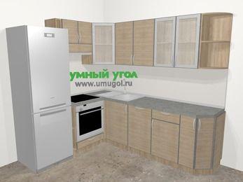 Кухни пластиковые угловые в стиле лофт 6,6 м², 190 на 240 см, Чибли бежевый, верхние модули 72 см, посудомоечная машина, встроенный духовой шкаф, холодильник
