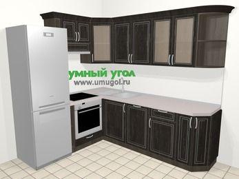 Угловая кухня МДФ патина в классическом стиле 6,6 м², 190 на 240 см, Венге, верхние модули 72 см, посудомоечная машина, встроенный духовой шкаф, холодильник