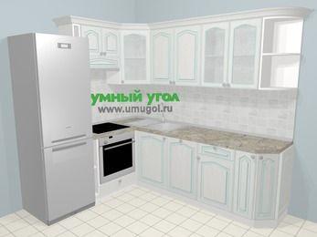 Угловая кухня МДФ патина в стиле прованс 6,6 м², 190 на 240 см, Лиственница белая, верхние модули 72 см, посудомоечная машина, встроенный духовой шкаф, холодильник