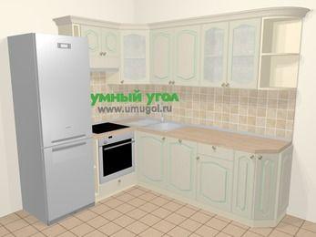 Угловая кухня МДФ патина в стиле прованс 6,6 м², 190 на 240 см, Керамик, верхние модули 72 см, посудомоечная машина, встроенный духовой шкаф, холодильник