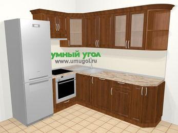 Угловая кухня из массива дерева в классическом стиле 6,6 м², 190 на 240 см, Темно-коричневые оттенки, верхние модули 72 см, посудомоечная машина, встроенный духовой шкаф, холодильник