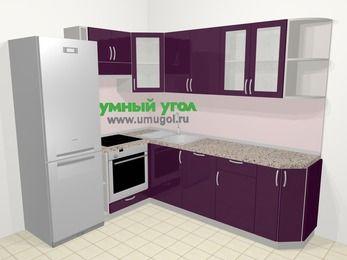 Угловая кухня МДФ глянец в современном стиле 6,6 м², 190 на 240 см, Баклажан, верхние модули 72 см, посудомоечная машина, встроенный духовой шкаф, холодильник
