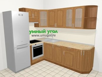 Угловая кухня МДФ патина в классическом стиле 6,6 м², 190 на 240 см, Ольха, верхние модули 72 см, посудомоечная машина, встроенный духовой шкаф, холодильник