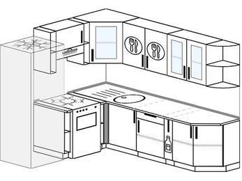 Угловая кухня 6,6 м² (1,9✕2,4 м), верхние модули 72 см, холодильник, отдельно стоящая плита