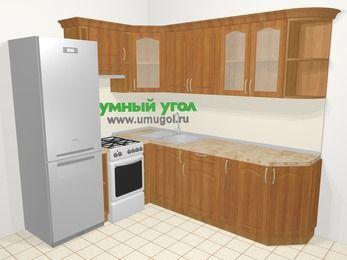Угловая кухня МДФ матовый в классическом стиле 6,6 м², 190 на 240 см, Вишня, верхние модули 72 см, холодильник, отдельно стоящая плита